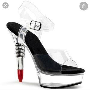 Pleaser rouge 608 lipstick heel platform clear